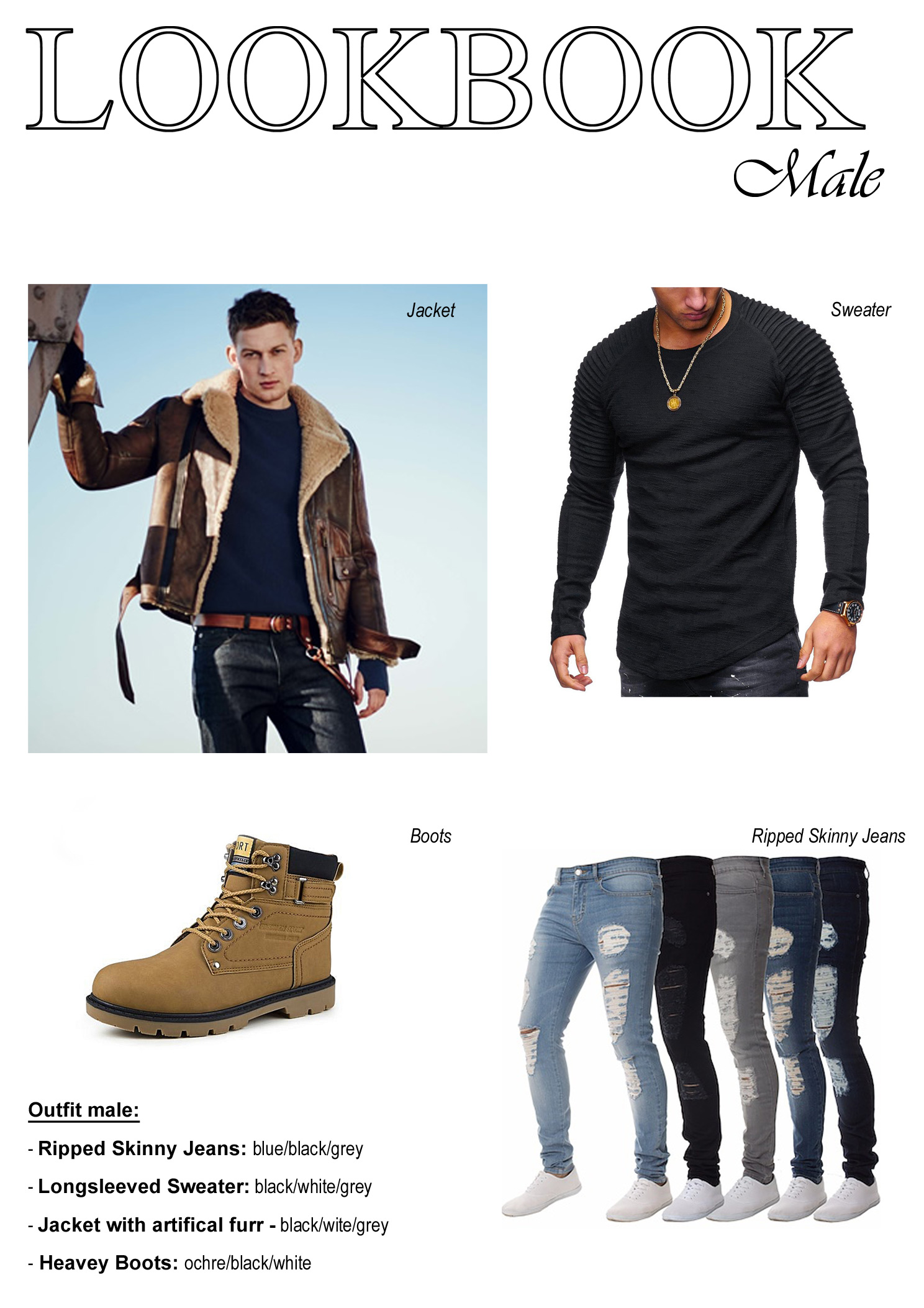 Male Outfit Look Book Example