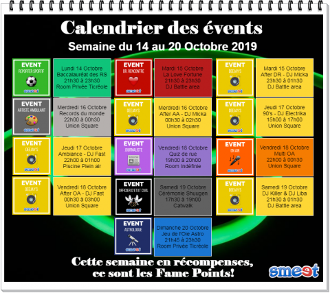 calendrier des events