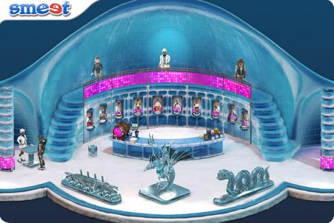 Smeet Room Frozen Waterfall Ice Bar Chat Game